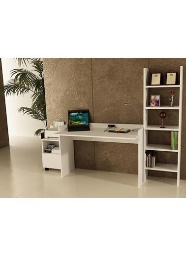Sanal Mobilya Sirius Dolaplı Kitaplıklı Çalışma Masası 120-Gk-4A Beyaz